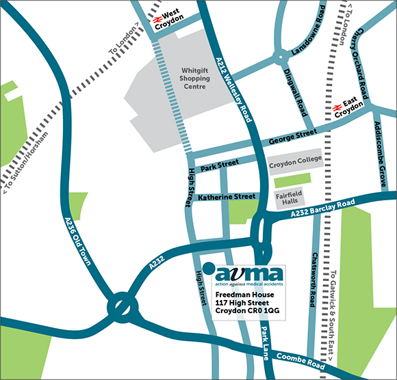 Map showing AvMA head office in Croydon