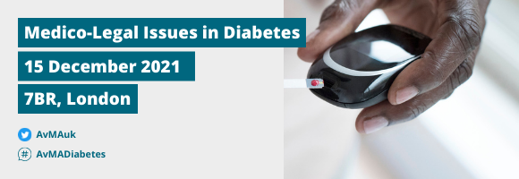 Medico-Legal Issues in Diabetes event banner with date and venue
